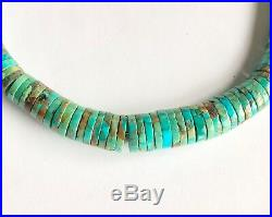 Southwestern Graduated Rolled Nevada Green Turquoise Heishi Bead Necklace 20