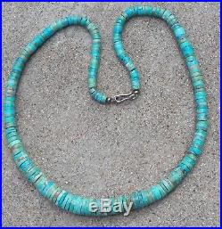Southwestern Kingman Turquoise Graduated Heishi Necklace More Green Than Blue