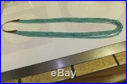 Southwestern Turquoise Heishi 10-strand 26 Necklace Sterling Silver Clasp