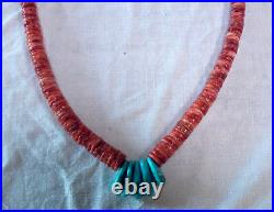 Spiny Oyster Heishi and Turquoise Necklace