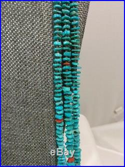 Squaw Wrap Tied 3-Strand Turquoise Bead Coral Accent Heishi Necklace 32 Long