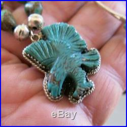 Sterling Santo Domingo Craved Turquoise Eagle Heishi Necklace 20 inch 4119