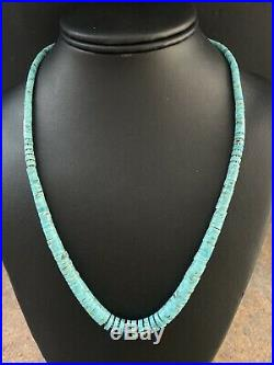 Sterling Silver Graduated Turquoise Heishi Bead Necklace 20 Inch