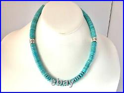 Sterling Silver Stamped Navajo Pearls Barrel Beads Turquoise Necklace Heishi