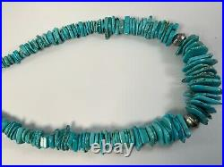 Sterling Silver Stamped Navajo Pearls Stamped Beads Turquoise Necklace Heishi