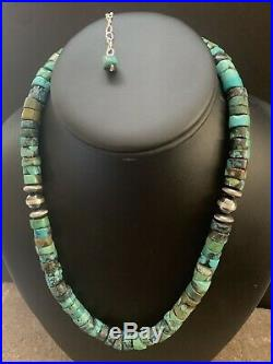 Sterling Silver Turquoise Heishi Bead Necklace 18 Inch