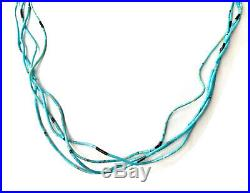 Sterling Sleeping Beauty Turquoise Heishi Multi Strand 20 Necklace FOR REPAIR
