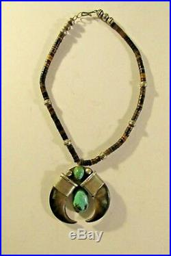 Sterling silver turquoise heishi bead faux bear claw Indian Naja necklace bolo