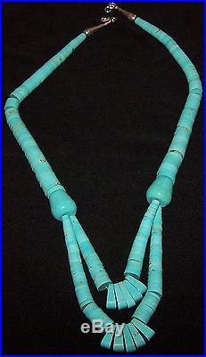 Stunning Long Estate Blue Turquoise Sterling Silver Heishi Necklace, 21.5