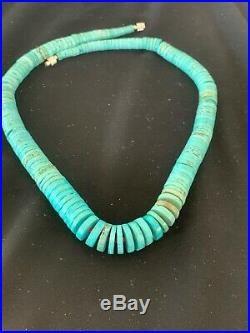 Stunning Navajo Blue Heishi Turquoise Sterling Silver Necklace 19 in Gift 3170