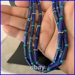 Stunning! Navajo Lapis 3S Sterling Silver Turquoise Bead Necklace 24 1147