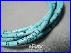 Stunning Vintage Navajo Turquoise Heishi Sterling Silver Drum Necklace