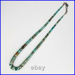 Stunning Vintage Santo Domingo Turquoise Heishi Necklace 17 Inches Long