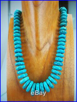 Sumptuous! Graduated Natural Turquoise Heishi Rondele Necklace Dine