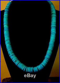 Super Deep Blue Very Massive 12 Mm. Turquoise Heishi Necklace 20 Long