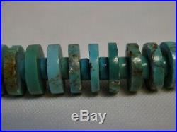 Superior NEVADA Mined TURQUOISE Heishi Old Stock + NAVAJO STERLING 23 Necklace