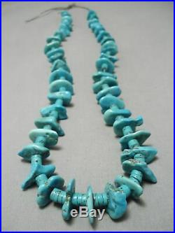 Superior Vintage Navajo Turquoise Nugget Heishi Necklace Old