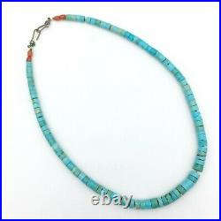 TURQUOISE HEISHI graduated bead necklace blue vintage Native American choker