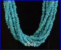 TURQUOISE NUGGETS HEISHI NECKLACE 30 Santo Domingo Style 8 Strand Squaw Wrapped