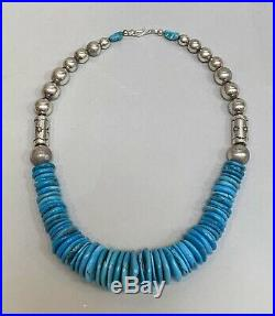 Thick Chunky Sterling Silver Blue Turquoise Heishi Disk Bead Pueblo Necklace