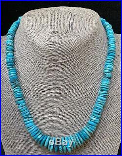 Thick Santo Domingo Sterling Silver Blue Turquoise Heishi Disk Bead Necklace
