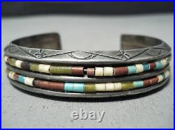 Thicker Heavy Vintage Navajo Turquoise Heishi Sterling Silver Bracelet Old
