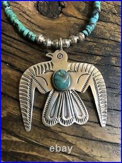 Thunderbird Eagle Sterling Silver Turquoise Pendant, 19 1/2 Heishi Necklace 925