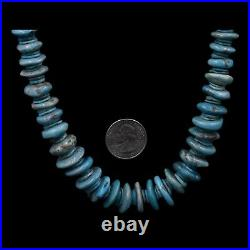 Traditional Handmade Navajo Old Pawn Graduated MORENCI Turquoise Disc Necklace