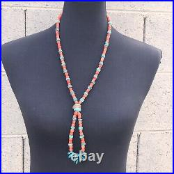 Traditional Navajo Turquoise & Coral Heishi 18 Inch Jacla Necklace -RARE PINK