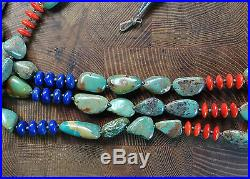 Triple Strand 24 Lapis Coral Grn Turquoise Stone Santo Domingo Heishi Necklace