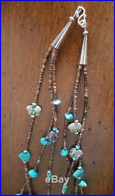 Triple Strand Turquoise Nugget, Heishi & Fetish Necklace With Bear Pendant