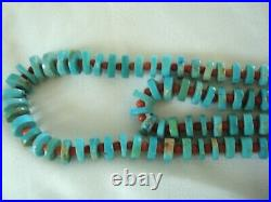 Turquoise Coral Beads Heishi Sterling Necklace Navajo Double Strand Estate