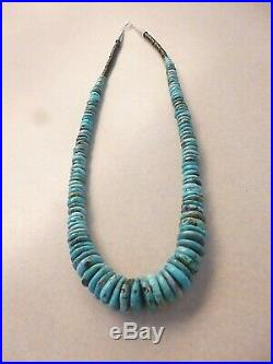 Turquoise Heishi Bead And Silver Native American Navajo Necklace