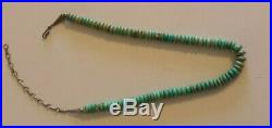 Turquoise Heishi Bead Necklace Sterling Silver 17.5 Long