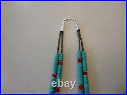 Turquoise Heishi Beads And Red Coral Nuggets Native American Navajo Necklace