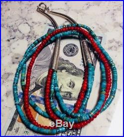 Turquoise Heishi Red Coral Necklace 24in Multi Strands Sterling Silver Long Cone