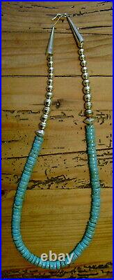 Turquoise Heishi Sterling Navajo Pearls 8mm. Rope Necklace 24.5