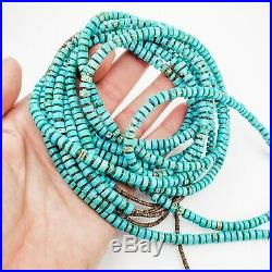 Turquoise Heishi and Sterling Silver 5-Strand Necklace