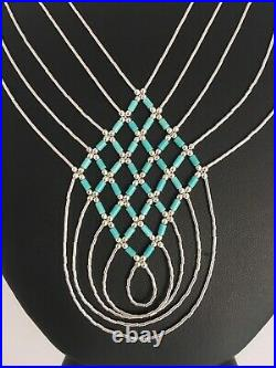 Turquoise Liquid Silver Heishi 5 St Sterling Silver Tubes Necklace Pendant 8880