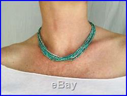Turquoise Multi-Strand Choker Necklace. Tiny Turquoise Heishi Sterling Silver