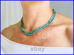 Turquoise Multi-Strand Choker Necklace. Turquoise Heishi and Sterling Silver