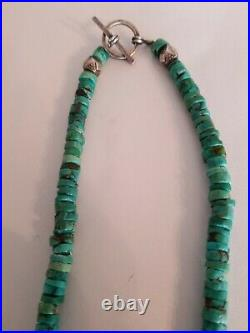 Turquoise Necklace Heishi & Coral & Bench Bead Accents Sterling Silver Vintage