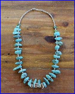 Turquoise Nugget and Heishi Bead Necklace Sterling Silver