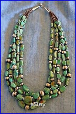 Turquoise Nugget and Sterling Silver Bead Heishi Necklace by Irene Lovato
