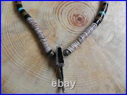 Turquoise & Sterling Silver Bear Claw Pendant on Turquoise Onyx Heishi Necklace