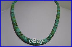 Unsigned Santo Domingo Spiny Oyster Turquoise Heishi Necklace Sterling Silver