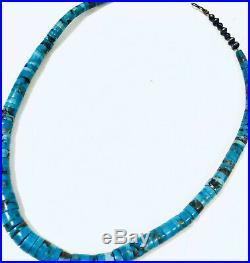 Unsigned Santo Domingo Turquoise Heishi Necklace Sterling Silver Graduated