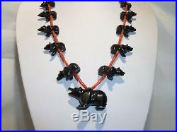 Unusual Zuni Heishi Fetish Red Coral Hand Curved Black Bears Necklace Turquoise