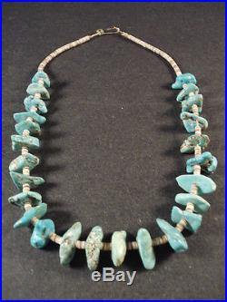 VINTAE Navajo KINGMAN TURQUOISE NUGGETS, HEISHI Choker Necklace Old pawn
