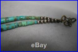 VINTAGE 50's NAVAJO SQUASH BLOSSOM PENDANT TURQUOISE HEISHI BEAD NECKLACE SILVER
